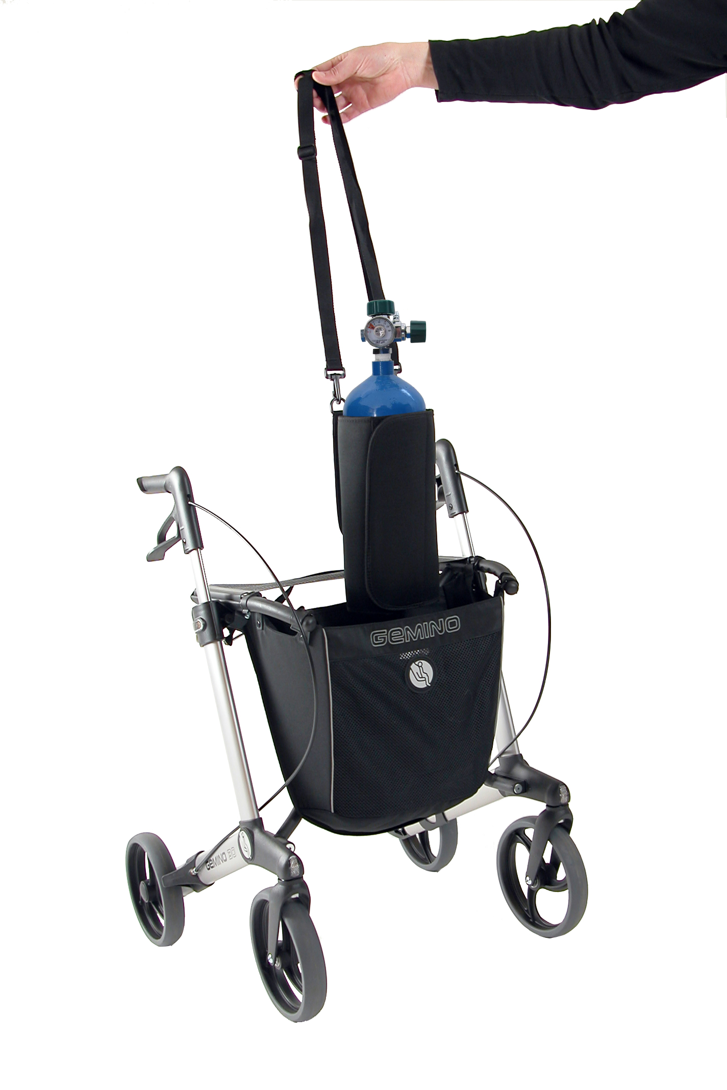 Mand voor zuurstofhouder voor Gemino rollator van Sunrise Medical